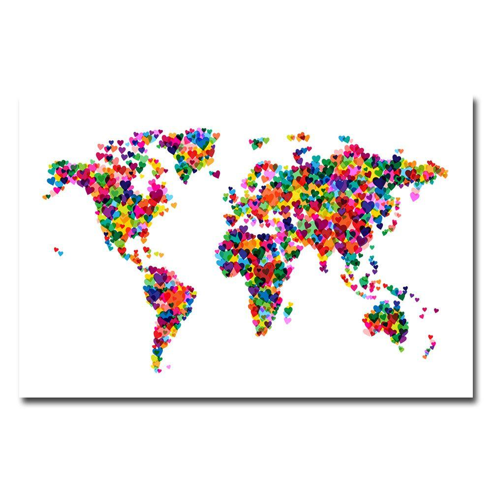 16 in. x 24 in. Love and Hearts World Map Canvas