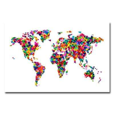 16 in. x 24 in. Love and Hearts World Map Canvas Art