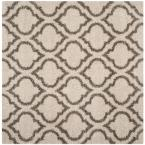 Hudson Shag Ivory/Gray 7 ft. x 7 ft. Square Area Rug