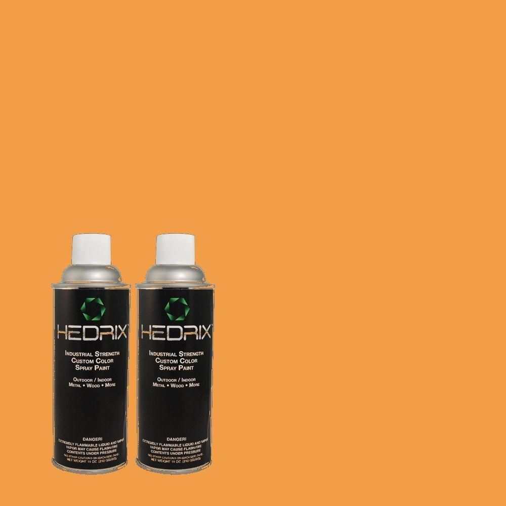 Hedrix 11 oz. Match of 270B-6 Autumn Orange Low Lustre Custom Spray Paint (2-Pack)