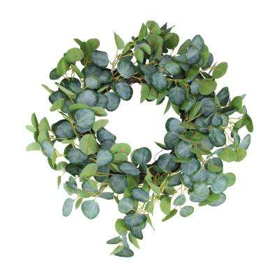 20 in. Green Eucalyptus Leaves Spring Garden Wreath