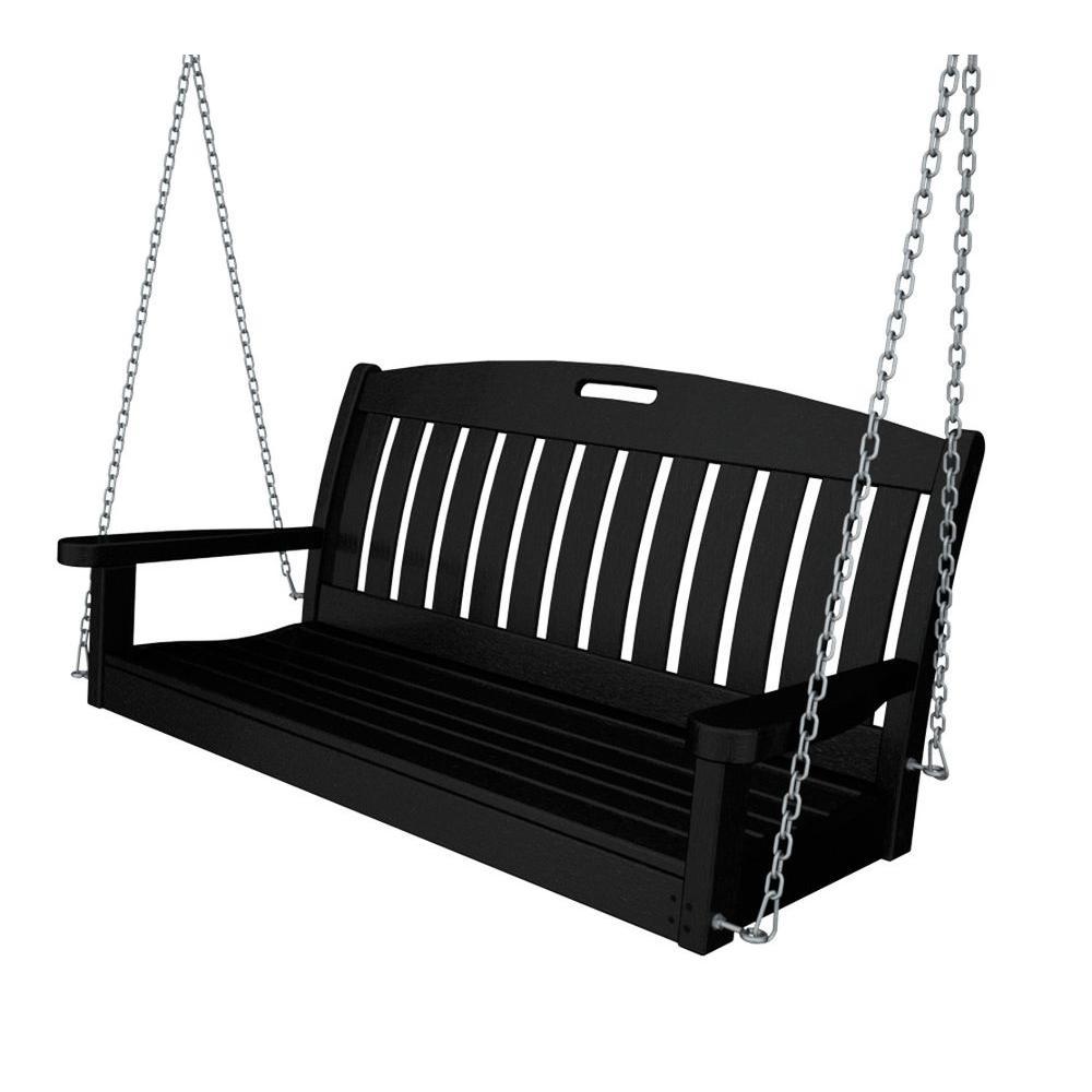 Nautical 48 in. Black Plastic Outdoor Porch Swing