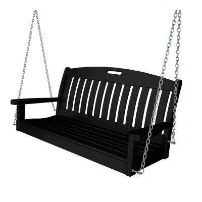 Nautical 48 in. Black Plastic Outdoor Porch Swing