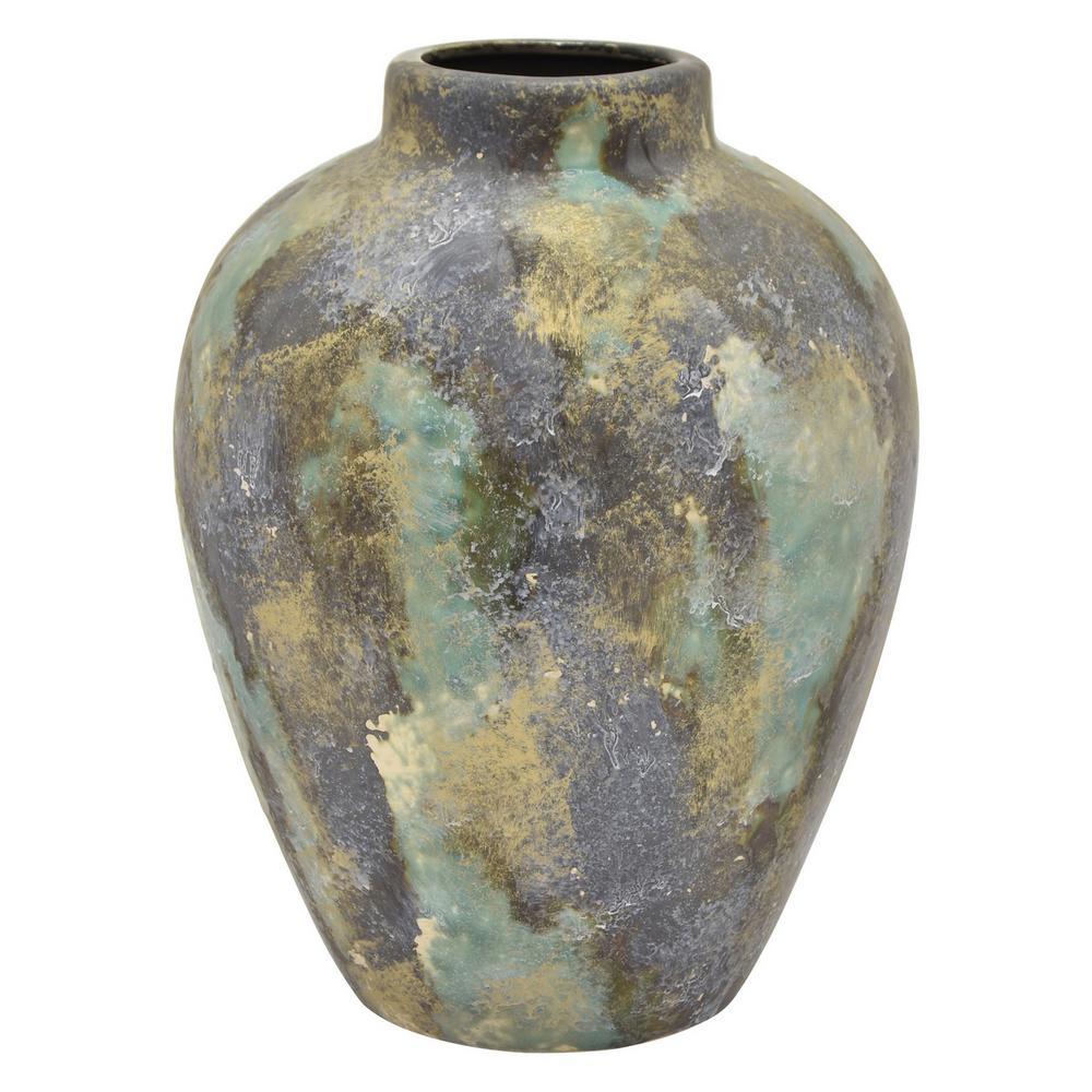 12 in. Green Ceramic Vase