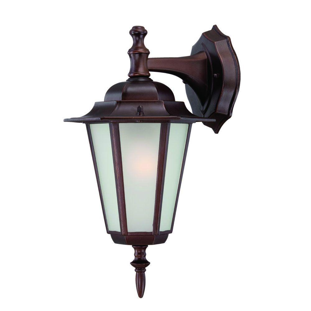 Camelot Collection 1-Light Architectural Bronze Outdoor Wall Lantern Sconce