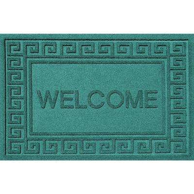 Greek Welcome Aquamarine 24 in. x 36 in. Polypropylene Door Mat