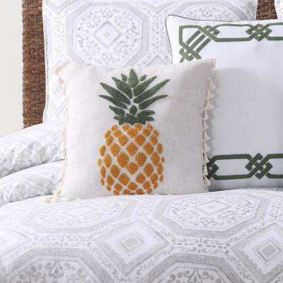 Sunwashed Isle Small Square Pillow in White and Yellow and Green