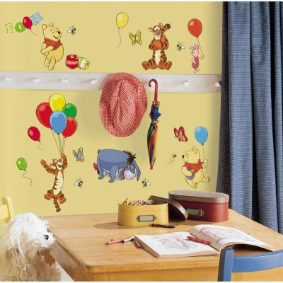 10 in. x 18 in. Winnie the Pooh - Pooh and Friends 38-Piece Peel and Stick Wall Decal - US/MEXICO/RUSSIA