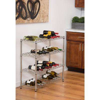 EcoStorage 36-Bottle Chrome Floor Wine Rack
