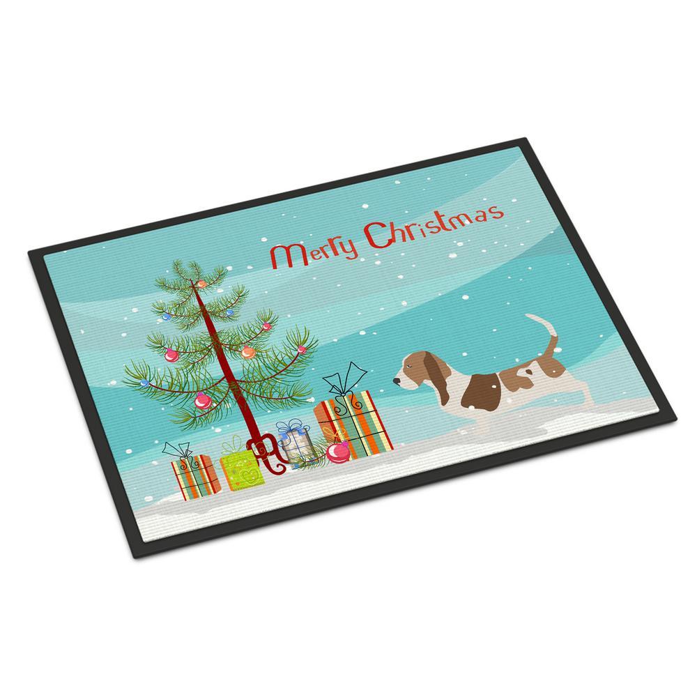 18 in. x 27 in. Indoor/Outdoor Basset Hound Merry Christmas Tree Door Mat