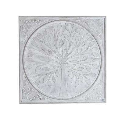 Metal Tree Inlay 31.5 in. Square Wall Panel