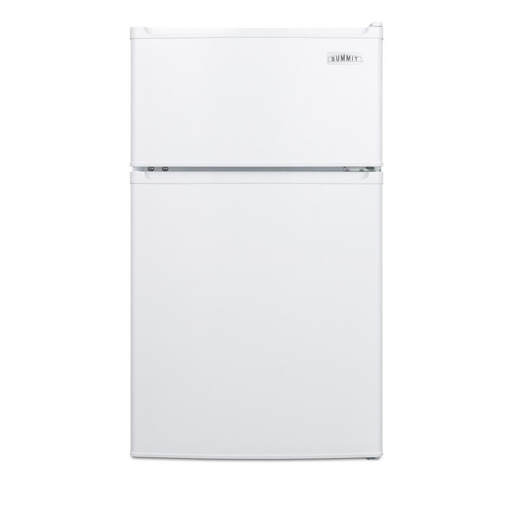 Summit Appliance 3 cu. ft. Mini Fridge in White, Energy Star SUMMIT's ENERGY STAR qualified collection of compact refrigerator-freezers offers uniquely sized units with energy efficient performances. The CP351W is a counter height two-door refrigerator-freezer just under 19 in. wide. It features a classic white textured finish and reversible doors for added convenience. This unit is designed for freestanding use. Inside, the CP351W utilizes a dual evaporator system to separately cool the auto defrost refrigerator section and manual defrost zero degree freezer compartment for an improved overall performance. The refrigerator includes an adjustable shelf, large crisper drawer, and door storage for tall bottles. The generously sized freezer section includes a large door shelf for easy storage. The CP351W is ENERGY STAR qualified with an efficient performance designed to save on utility costs and energy usage. With its unique size and quality design, this unit is ideal for college dorms, small apartments, offices, and other settings in need of a reliable, energy efficient compact refrigerator-freezer.