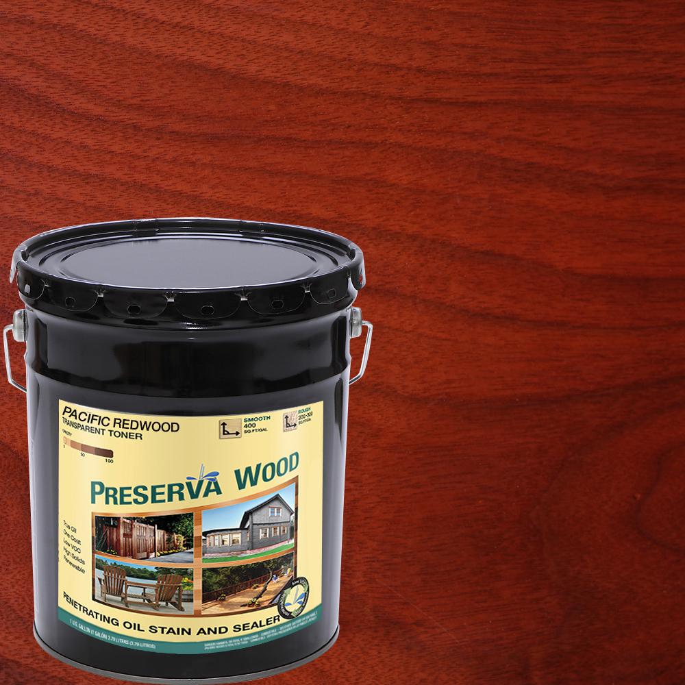 5 gal. 100 VOC Oil-Based Pacific Redwood Penetrating Stain and Sealer