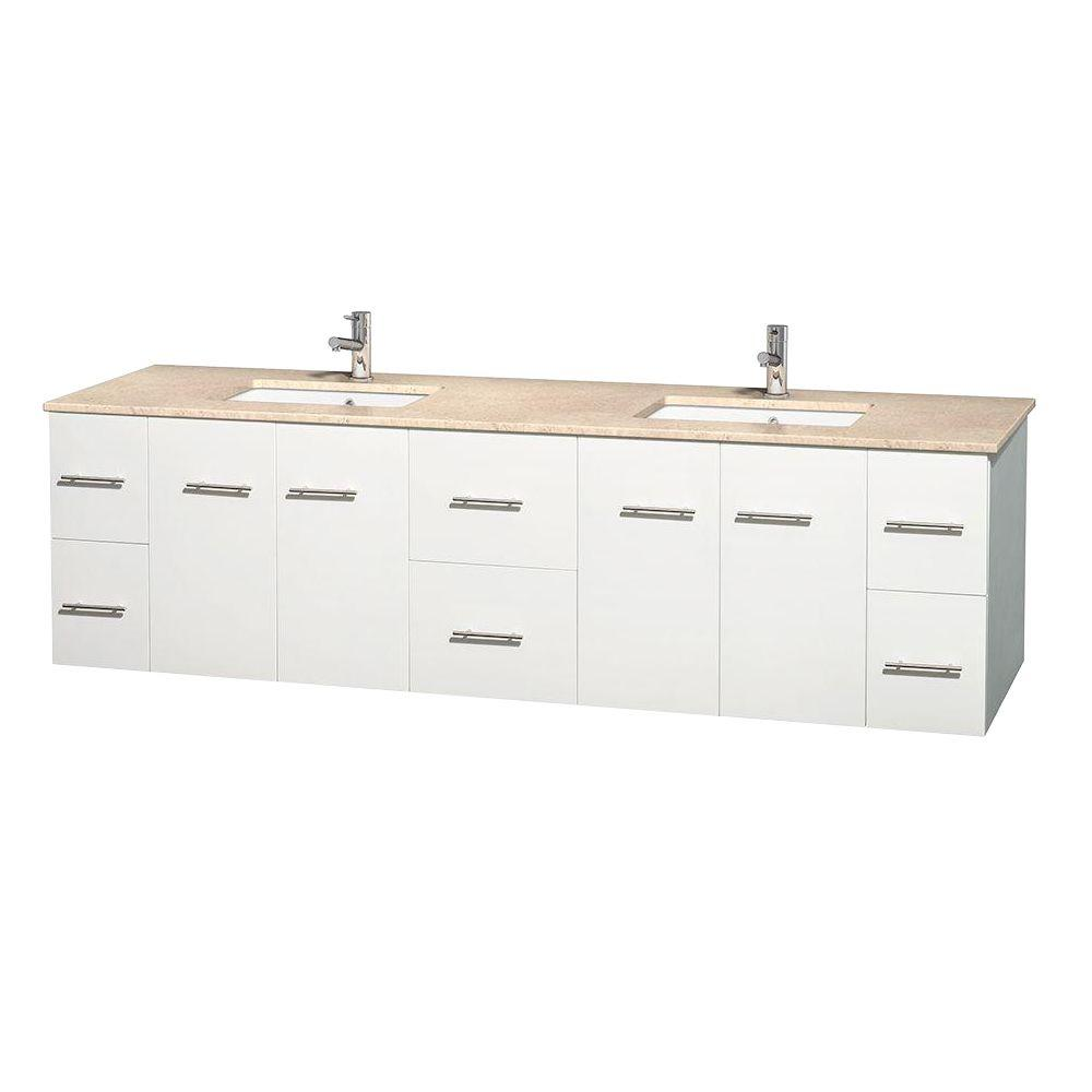 Centra 80 in. Double Vanity in White with Marble Vanity Top