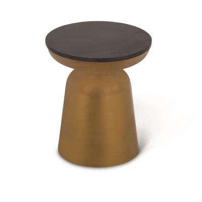 Jovana Brass and Granite Round End Table