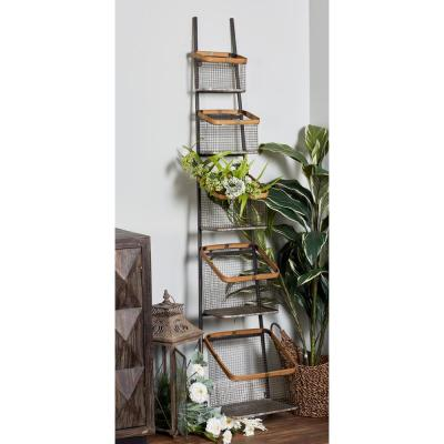 Iron and Wood 5-Tier Basket Stand