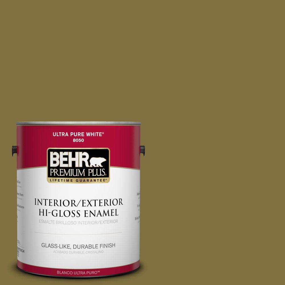 BEHR Premium Plus 1-gal. #S-H-390 Italian Olive Hi-Gloss Enamel Interior/Exterior Paint