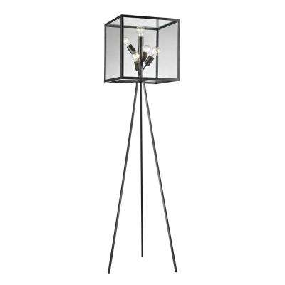 Aged Bronze Glass Cube Floor Lamp