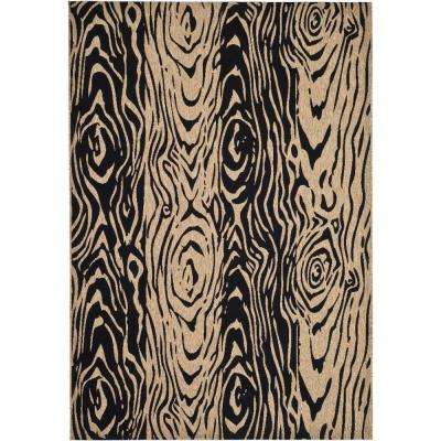Layered Faux Bois Coffee/Black 6 Ft. 7 In. X 9 Ft.