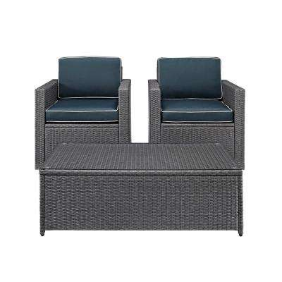 Palm Harbor 3-Piece Wicker Outdoor Conversation Set with Navy Cushions