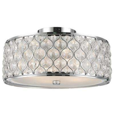 Paris 4-Light Polished Chrome with Clear Crystal Flushmount