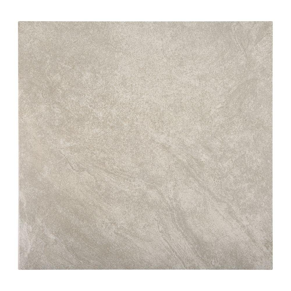 Trafficmaster portland stone gray 18 in x 18 in glazed ceramic floor and wall tile sq Ceramic stone tile