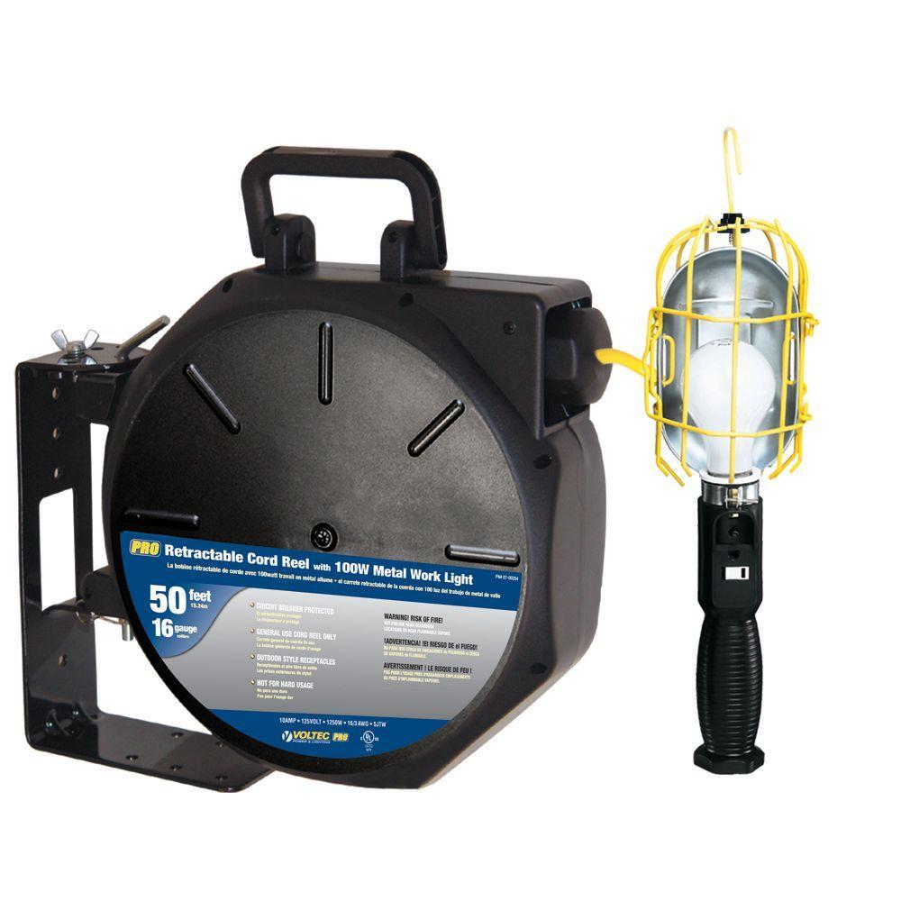 50 ft. 16/3 SJTW Industrial Metal Guard Worklight Retractable Cord Reel - Yellow and Black
