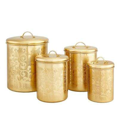 """4-Piece """"Avignon"""" Champagne Tone Etched Canister Set"""