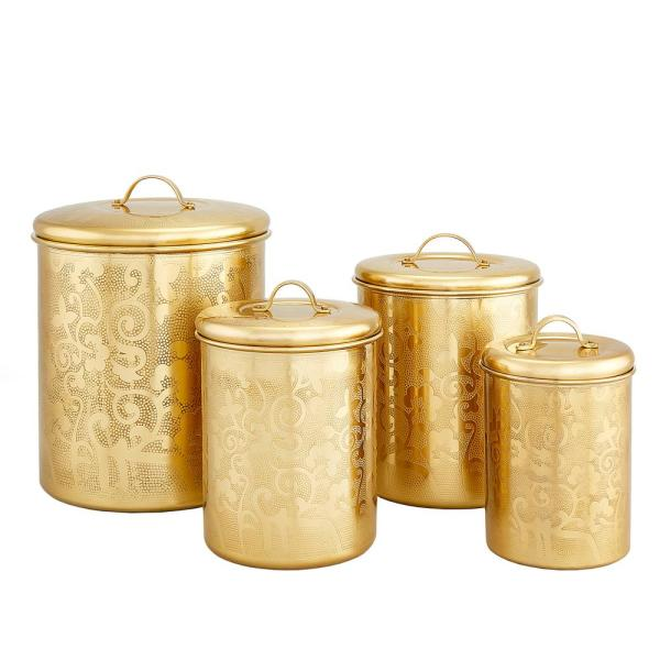 Old Dutch 4-Piece ''Avignon'' Champagne Tone Etched Canister Set 1392CC