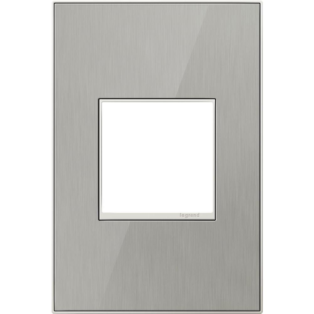 1-Gang 2 Module Wall Plate, Brushed Stainless