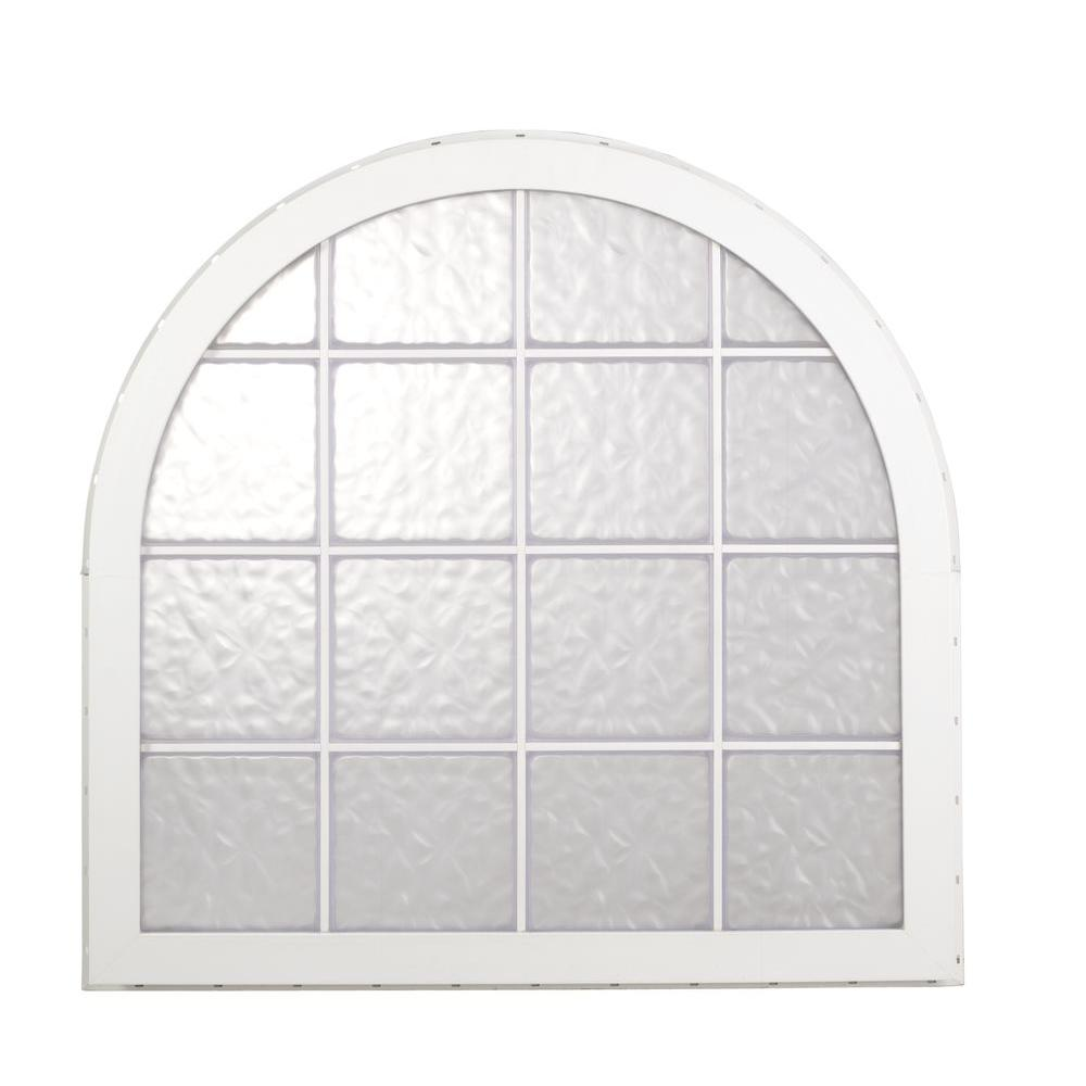 Hy-Lite 50 in. x 58 in. Glacier Pattern 8 in. Acrylic Block Tan Vinyl Fin Fixed Round Top Window with Tan Silicone-DISCONTINUED
