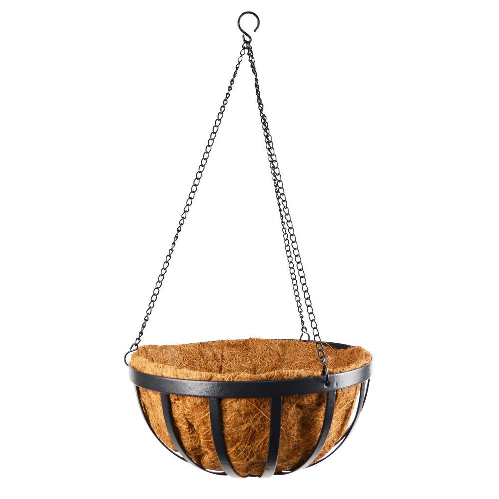 Solstice 14 in. Black Metal Coconut Hanging Basket