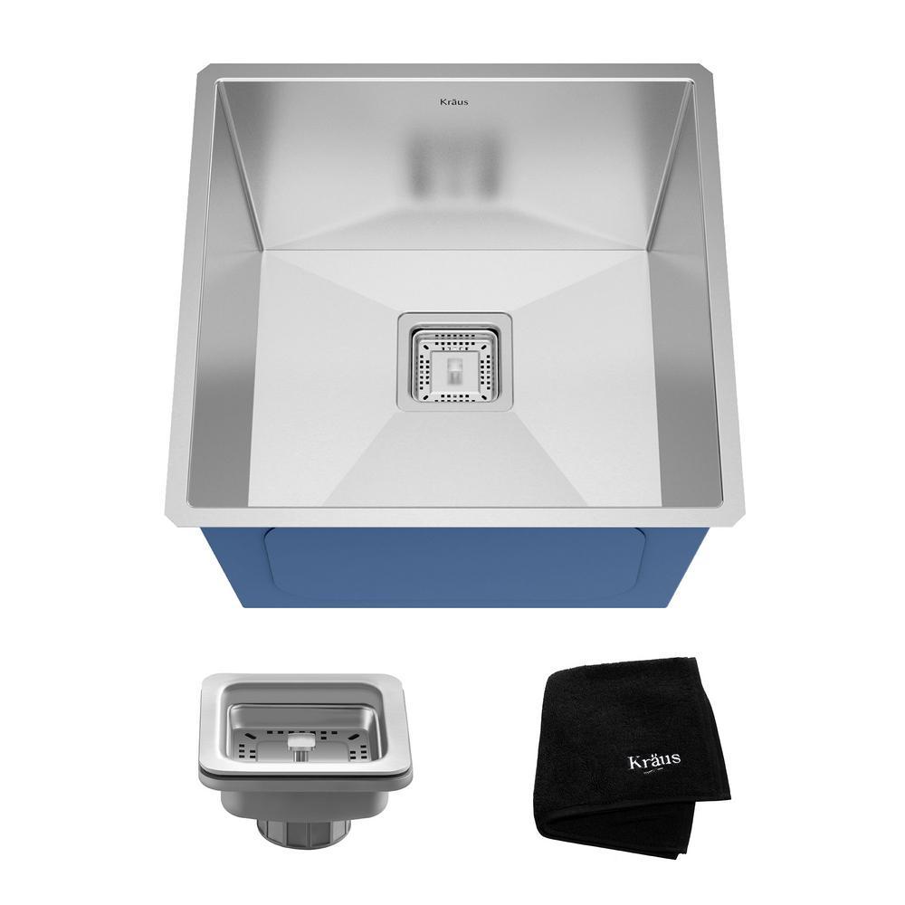 Pax Zero-Radius Undermount Stainless Steel 19 in. Single Basin Kitchen Bar Prep Sink Kit