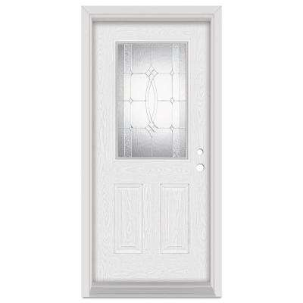 37.375 in. x 83 in. Diamanti Classic Left-Hand 1/2 Lite Zinc Finished Fiberglass Oak Woodgrain Prehung Front Door