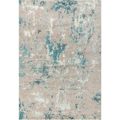 Contemporary Pop Modern Abstract Vintage Faded Gray/Blue 8 ft. x 10 ft. Area Rug