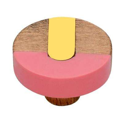 Fusion 1-1/2 in. Brass Bar and Pink Cabinet Knob