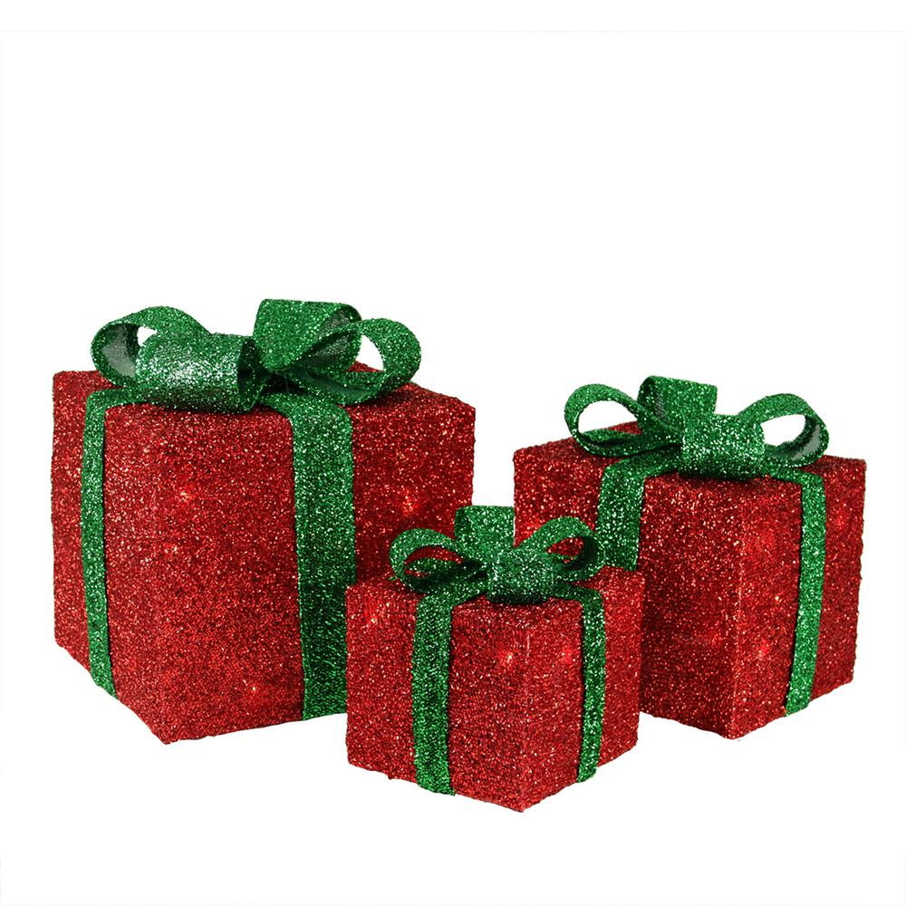 9 in. Christmas Outdoor Decorations Red Tinsel Gift Boxes with Green