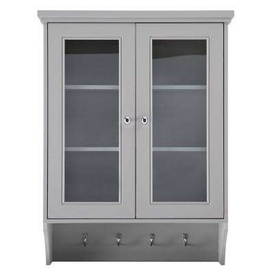 Gazette 23-1/2 in. W x 31 in. H x 7-1/2 in. D Bathroom Storage Wall Cabinet with Glass Doors in Grey