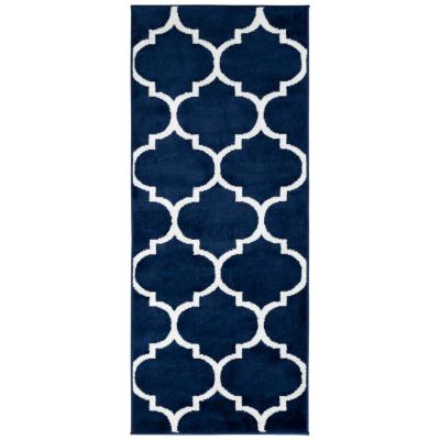 Royal Collection Navy Trellis Design 1 ft. 8 in. x 4 ft. 11 in. Runner Rug