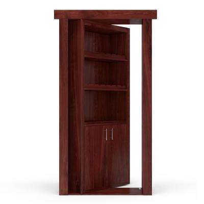 32 in. x 80 in. Flush Mount Assembled Hickory Cherry Stained Right-Hand Outswing Wine Rack Door