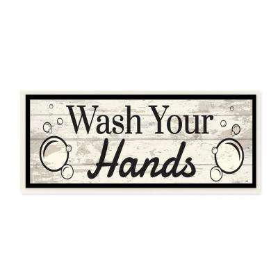 """7 in. x 17 in. """"Wash Your Hands Black and White Planked Look"""" by ND Art Wood Wall Art"""