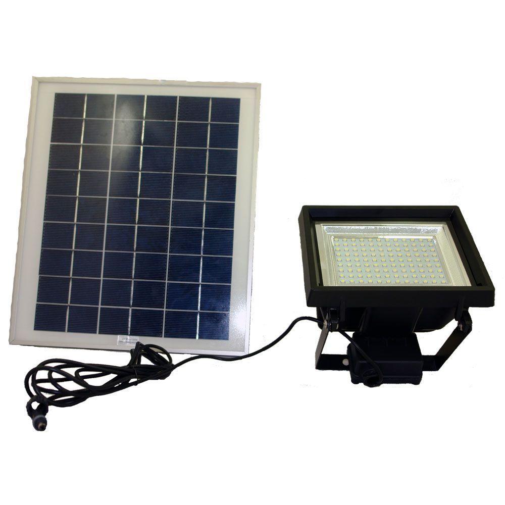Solar Super Bright Black 108-LED Outdoor Flood Light with Timer