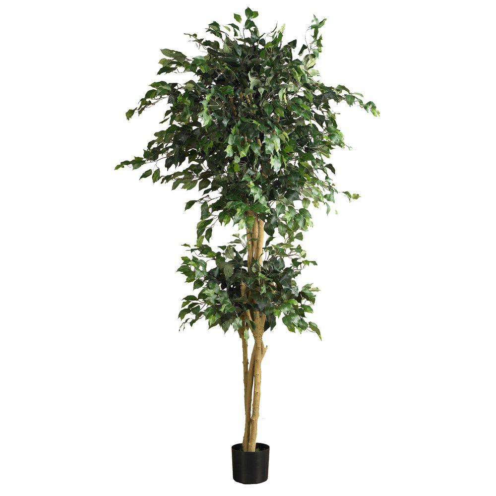 Nearly Natural 6 ft. Double Ball Ficus Silk Tree, Green
