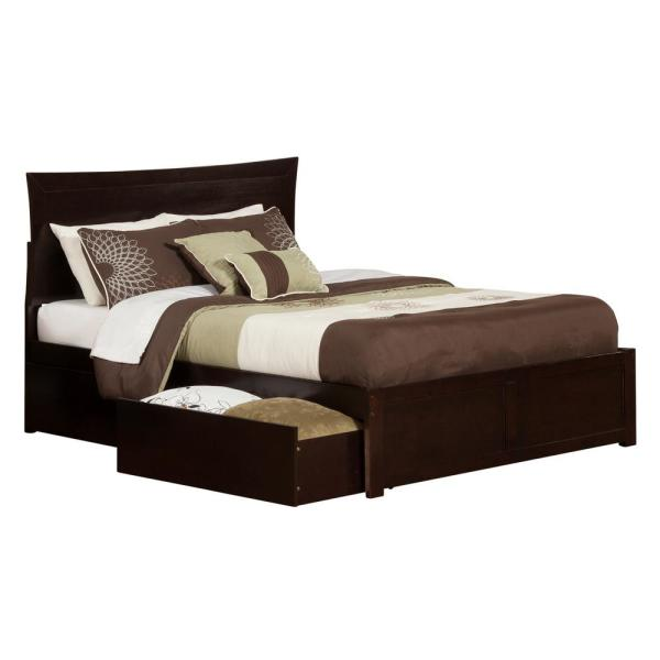 Metro Espresso Queen Platform Platform Bed with Flat Panel Foot Board and 2-Urban Bed Drawers