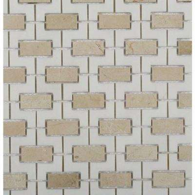 Rorschack Crema Marfil and Thassos Polished Marble Floor and Wall Tile - 3 in. x 6 in. Tile Sample
