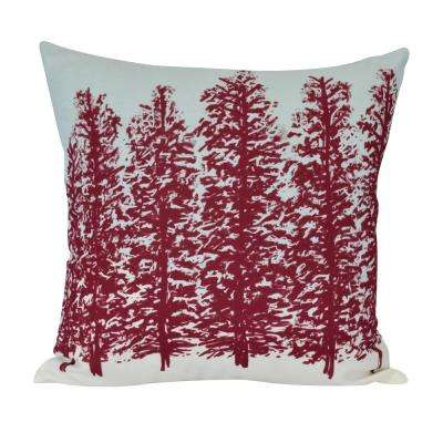 16 in. Hidden Forrest Floral Print Decorative Pillow