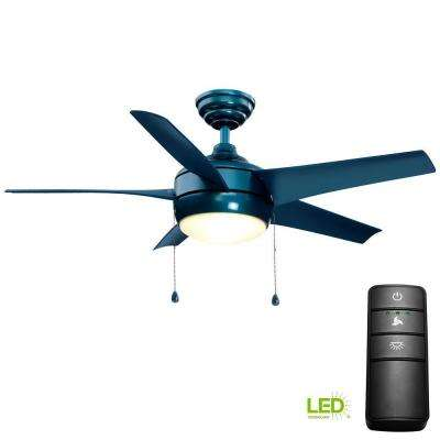 Windward 44 in. LED Blue Ceiling Fan with Light Kit and Remote Control