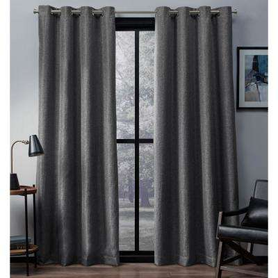Eglinton 52 in. W x 96 in. L Woven Blackout Grommet Top Curtain Panel in Black Pearl (2 Panels)