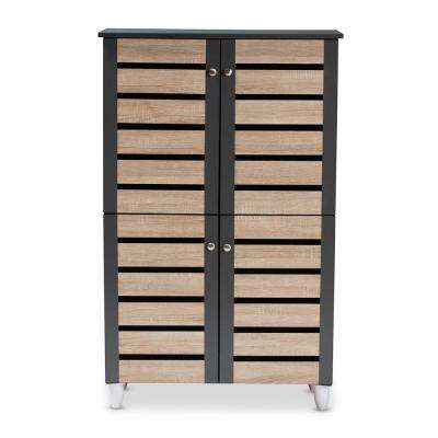 Gisela 48 in. H x 30 in. W 18-Pair Oak and Dark Gray Wooden Shoe Storage Cabinet