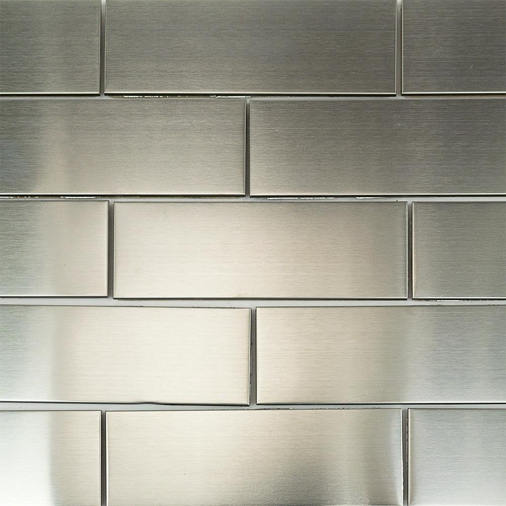 Ivy Hill Tile Stainless Steel 2 in. x 6 in. Stainless Steel Floor and Wall Tile
